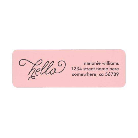 Modern Hello Return Address Label