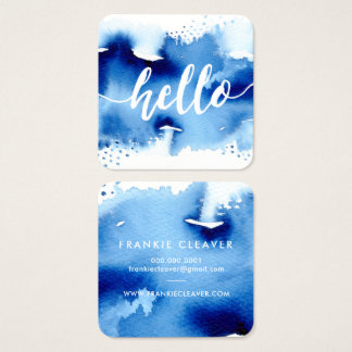 MODERN HELLO SCRIPT arty watercolor splash blue Square Business Card