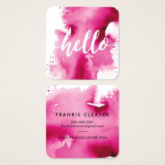 MODERN HELLO SCRIPT  arty watercolor splash pink Square Business Card