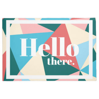 Modern Hello There Colorful Geometric Triangles Doormat