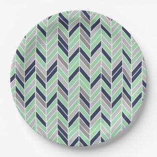 Modern Herringbone Chevron Geometric Pattern Paper Plate
