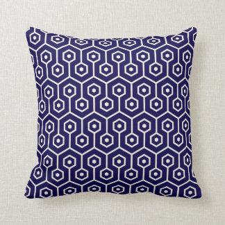 Modern Hexagon Honeycomb Pattern Cobalt Blue Cushion