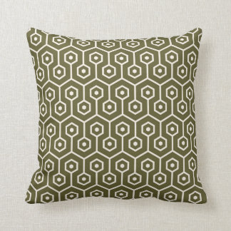 Modern Hexagon Honeycomb Pattern Olive Green Cushion