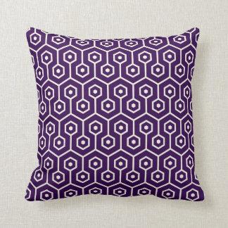 Modern Hexagon Honeycomb Pattern Purple Cushion