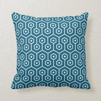 Modern Hexagon Honeycomb Pattern Teal Blue Cushion