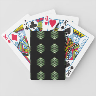 Modern Hip Black Green Pattern Bicycle Playing Cards