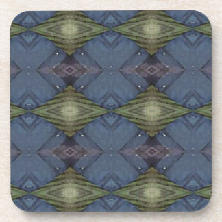 Modern Hip Blue Earth Green Diamond Pattern Coaster