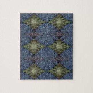 Modern Hip Blue Earth Green Diamond Pattern Jigsaw Puzzle