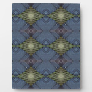 Modern Hip Blue Earth Green Diamond Pattern Plaque