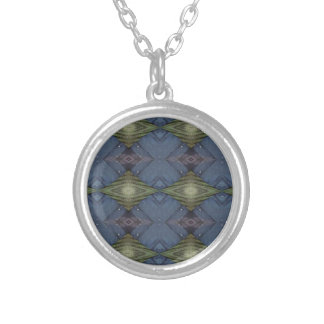 Modern Hip Blue Earth Green Diamond Pattern Silver Plated Necklace