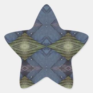 Modern Hip Blue Earth Green Diamond Pattern Star Sticker