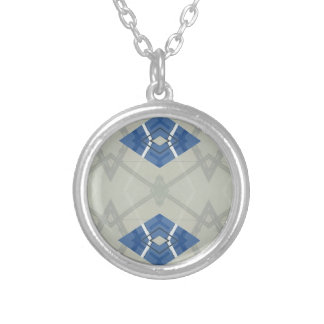 Modern Hip Blue Gray Geometrical Pattern Silver Plated Necklace