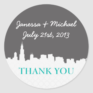 Modern & Hip Cityscape Thank You Stickers