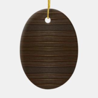 Modern Hip Shades of Brown Textured Pattern Ceramic Oval Decoration