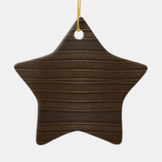 Modern Hip Shades of Brown Textured Pattern Ceramic Star Decoration