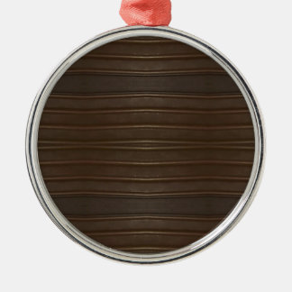 Modern Hip Shades of Brown Textured Pattern Silver-Colored Round Decoration