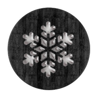 Modern Holiday Black And White Snowflake Cutting Board