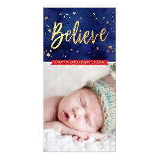 MODERN HOLIDAY GREETING believe gold script type Photo Card
