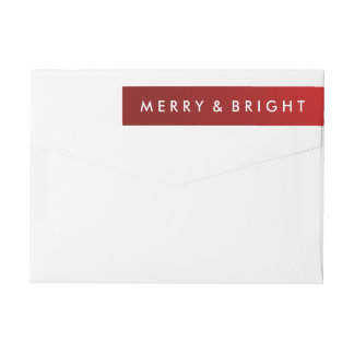 Modern Holiday Merry & Bright Red Wrap Around Label