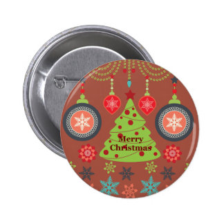 Modern Holiday Merry Christmas Tree Snowflakes Buttons