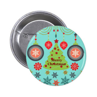 Modern Holiday Merry Christmas Tree Snowflakes Pinback Buttons