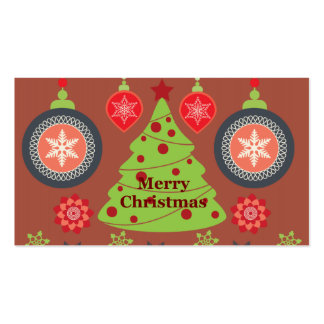 Modern Holiday Merry Christmas Tree Snowflakes Business Card Templates