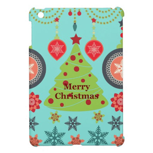 Modern Holiday Merry Christmas Tree Snowflakes iPad Mini Case