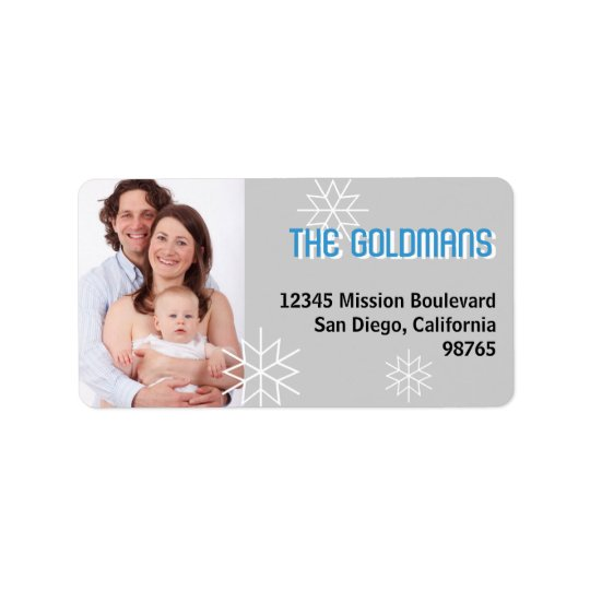 Modern holiday photo blue grey snowflake address label