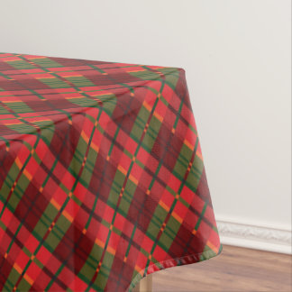 Modern Holiday Plaid Pattern in Red Green Angle Tablecloth