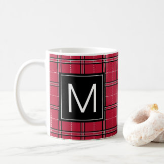 Modern Holiday Red Plaid Monogram Christmas Mug