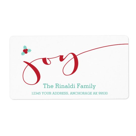 Modern, Holly & Joy Shipping Label