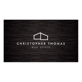 Modern Home Logo Architecture, Real Estate Dk Wood Pack Of Standard Business Cards