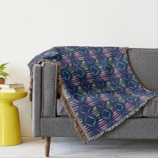Modern Homey Navy Blue Geometric Pattern Throw Blanket