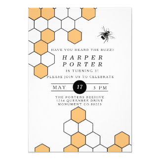 Modern Honeycomb | Bumblebee Birthday Party Card