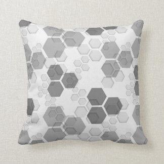 Modern Honeycomb Geometric Design - Shade of Gray Cushion