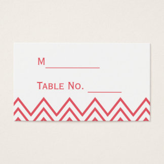Modern Honeysuckle Pink Chevron Wedding Place Card