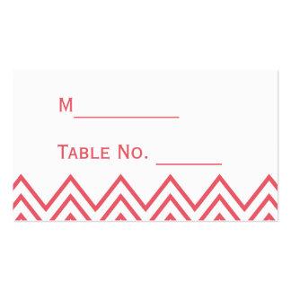 Modern Honeysuckle Pink Chevron Wedding Place Card Pack Of Standard Business Cards