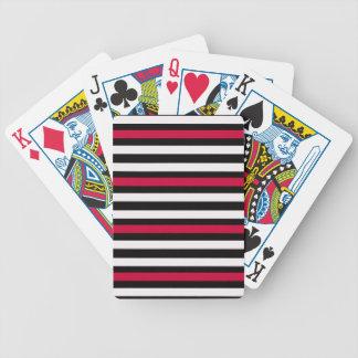 Modern Horizontal BW Red Bicycle Playing Cards