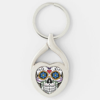Modern Horror Skull Silver-Colored Twisted Heart Key Ring