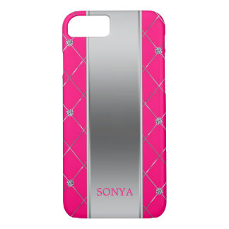Modern Hot Pink And Silver Geometric Shapes iPhone 8/7 Case