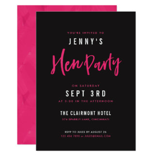 Modern Hot Pink & Black Hen Party Invites