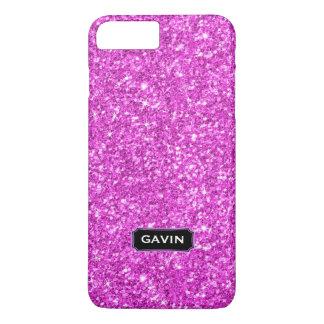 Modern Hot Pink Faux Glitter Monogram 2 iPhone 8 Plus/7 Plus Case