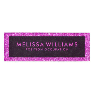 Modern Hot Pink Faux Glitter Name Tag