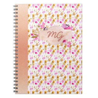 Modern Hot Pink Floral Pattern Rose Gold Border Notebooks