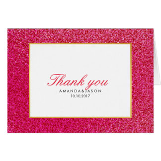 Modern HOT PINK GLOSSY AND GLITTER FAVOR Thank You Card