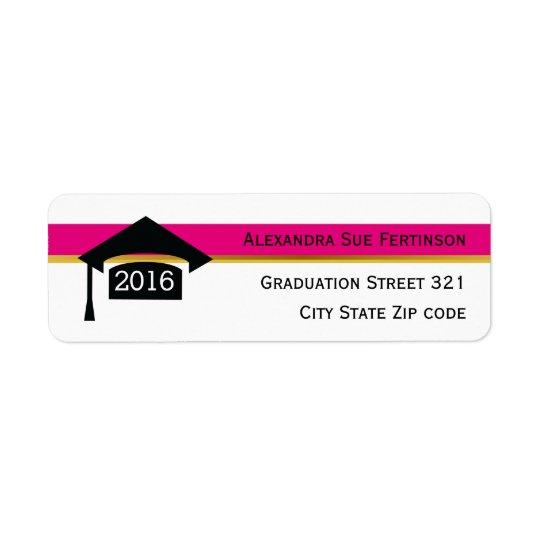 Modern hot pink graduation 2016 cap black, white return address label