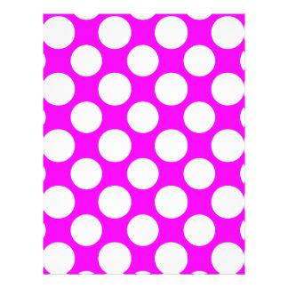Modern Hot Pink White Polka Dots Pattern Custom Flyer
