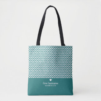 Modern Ikat Upscale Heart Monogram CAN EDIT COLOR Tote Bag