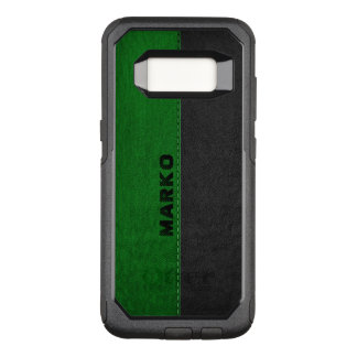 Modern Image Of Green & Black Vintage Leather OtterBox Commuter Samsung Galaxy S8 Case