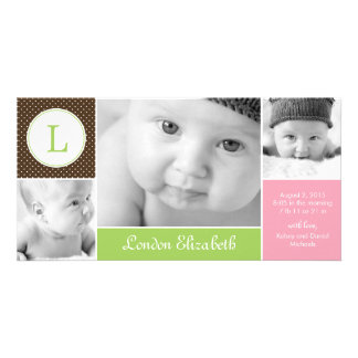 Modern Initial Baby Girl Birth Announcement Customized Photo Card